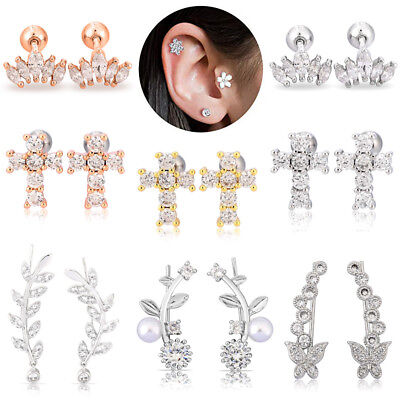 16G CZ Surgical Steel Ear Tragus Cartilage Helix Stud Barbell Earrings Piercing