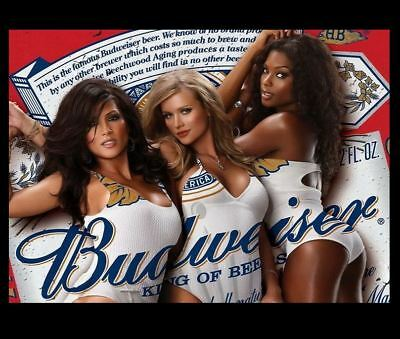 Budweiser Beer Ad Hot Girls PHOTO,Bar Sign Vintage Advertisement King of Beers