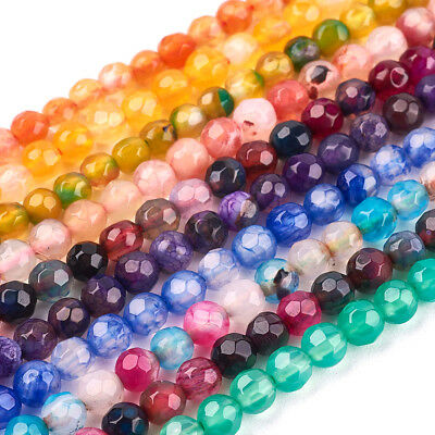 10 Strds Colorful Natural Agate Stone Beads Round Faceted Loose Beads Tiny 4mm
