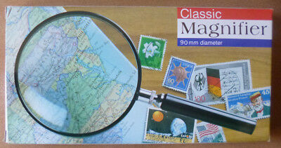 CLASSIC MAGNIFIER MAGNIFYING GLASS 90mm Diameter - 2.5x + 5x Spot.