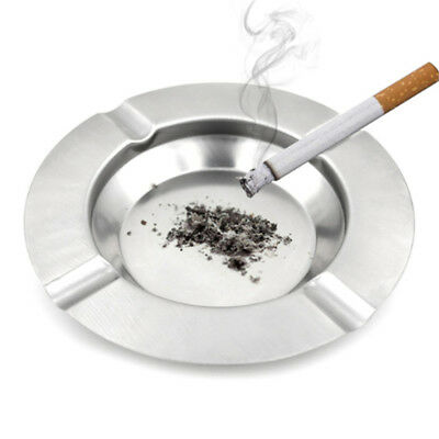 Round Stainless Steel Cigarette Lidded Ashtray Silver Portable Useful Ashtray