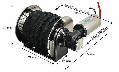 1000W MICRO 'S' Drum Anchor winch, WITH ROPE&CHAIN+ swivel+ bow roller+ more