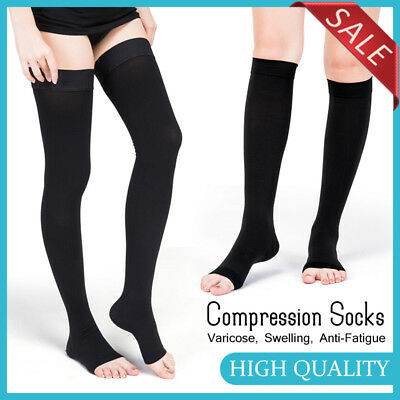 New 23-32mmHg Medical Compression Socks Support Stockings Travel Flight Open Toe