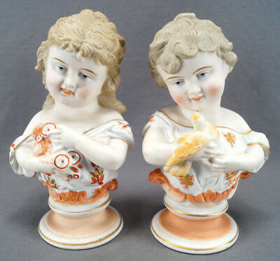 Pair of Late 19th Century Hand Painted German Bisque Porcelain Cherubic Busts