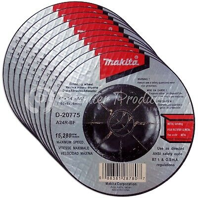 "Makita 10 Pack - 4 Inch Grinding Wheel For 4"" Grinders On Metal"