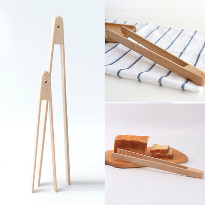 Wood Wooden Food Toast Tongs Toaster Bacon Tong Salad Kitchen Tool