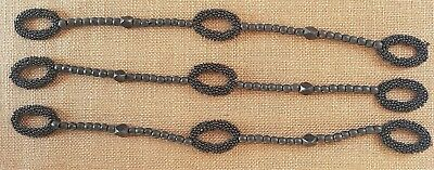Antique Victorian Glass Bead Work Apppliique Ovals Wood Bead Strand French