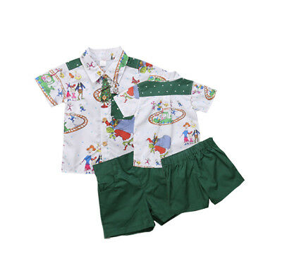AU STOCK Toddler Kids Baby Girl Boy Christmas Outfit Clothes Shirt Top+Pant 2PCS
