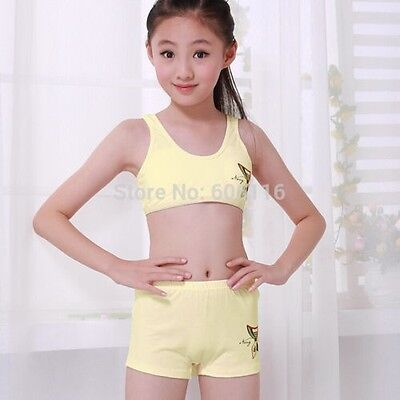 Puberty Girl Cotton Soft Bra+Pant Student Underwear Set Girls Training bras c7e5c8e93