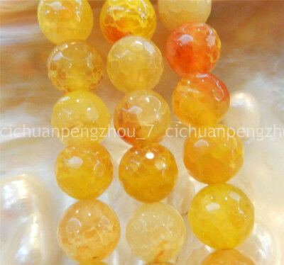"""Faceted 10mm Yellow Dragon Veins Agate Round Gemstones Loose Beads 15"""" A natural"""