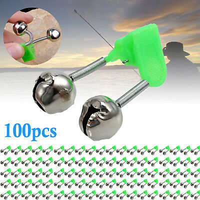 Plastic Clip Double Rod Bite Alarm Fishing Bells Ring Fishing Tackle Tools 100X