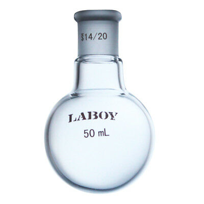 Laboy Glass Single Neck Round-Bottom Boiling Flask 50Ml with 14/20 Glass Joint