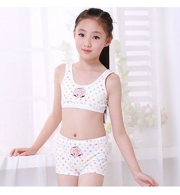 Puberty Girl Cotton Soft Bra+Pant Student Underwear Set Girls Training bras