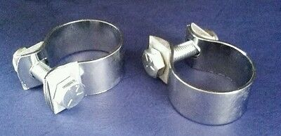 """2  Chrome Exhaust/Balance Pipe Clips 1 5/8"""""""