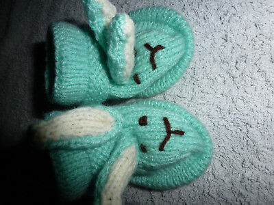 New Hand Knitted Green Bunny Rabbit Bootees Easter