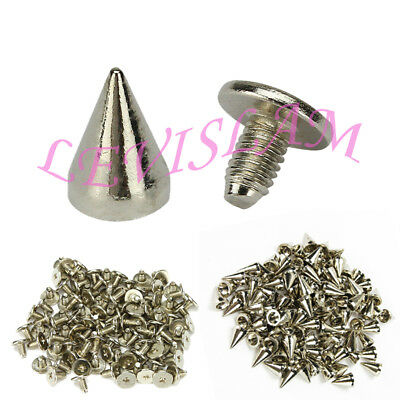 100 x 10mm Silver Spots Cone Screw Metal Studs Leathercraft Rivet Bullet Spikes