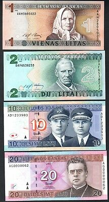 Lithuania 1 2 10 20 lit 1993-2007 20 litu 2007 LOW SERIAL AG0000062 UNC