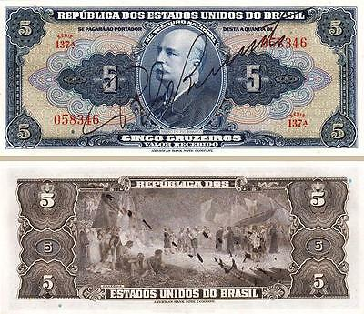 BRAZIL 5 CRUZEIROS 1943 UNC 2 PCS LOT CONSECUTIVE PAIR HANDSIGN P134c SERIE 137