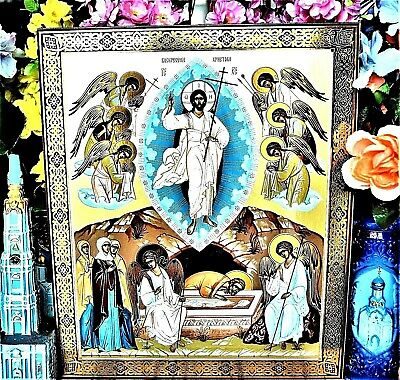Resurrection of Christ Gold & Silver embossing Russian Orthodox Icon Big Size