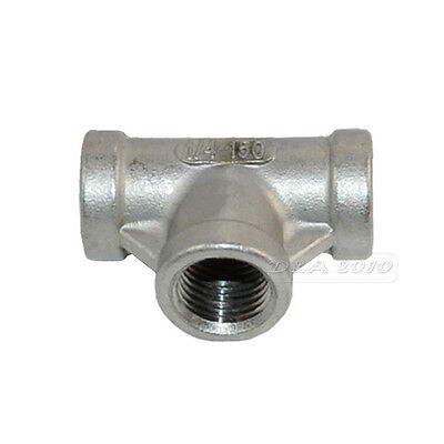 """1/4"""" Tee 3 way Female Stainless Steel 304 Threaded Pipe Fitting BSPT 39mm Length"""