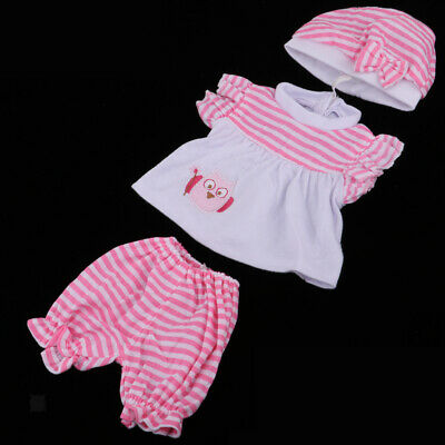 Doll Stripe Tops & Pants Hat Clothes Suit For 18inch American Baby Girl Doll
