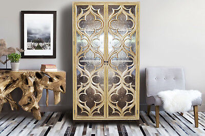 Limed oak hand carved antique French style armoire with bubble glass doors