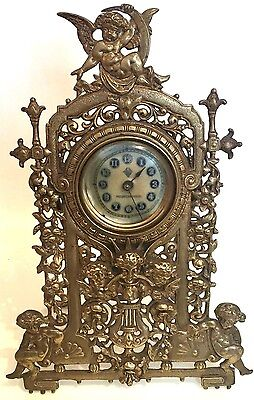 Brass Case United Clock Co British Winding Movement Mantle Clock GWO
