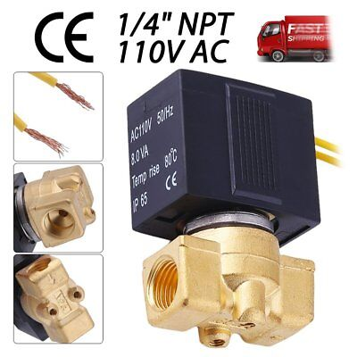 1/4 inch 110V-120V AC Brass Electric Solenoid Valve Pneumatic Gas Water Air TO