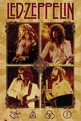 Rare LED ZEPPELIN Band FULL SIZE 24x36 Concet Poster Jimmy Page Robert Plant UK