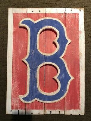 Boston Red Sox Distressed Wood Logo Sign - Vintage Looking - Lights up!