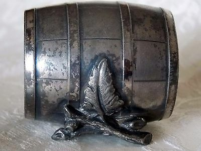 Antique Metal Silver Plate Barrel, Branch With Leaf Napkin Ring 223