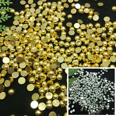 Silver/Gold Half Round Bead Flat Back Pearl 3/4/5/6/8/10 Scrapbooking Craft