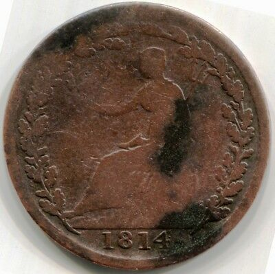 1814 LOWER CANADA WELLINGTON HALF PENNY TOKEN - WE-8A3 Two Tines Barbed