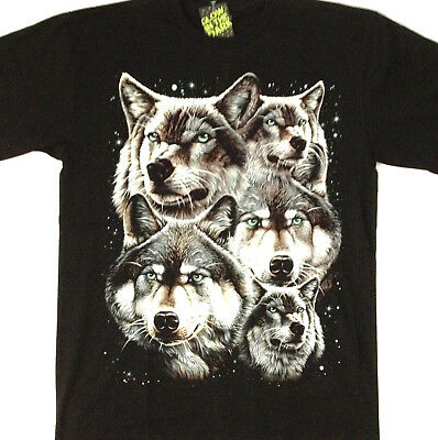 Native Indian wolves glow in the dark 2 sided Tee shirt large 42 - 44 TEE TN005
