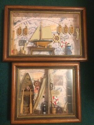 2 Vintage Nautical Shadow Bo Wall Art Framed Decor Fishing Boat Ship Maps