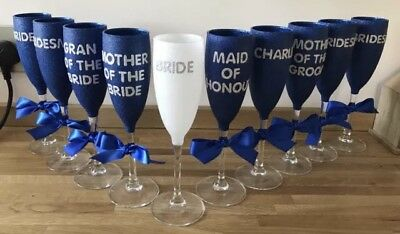 Wedding Glitter Glass Champagne Flute, Bride, Bridal Shower, Wedding, Hen