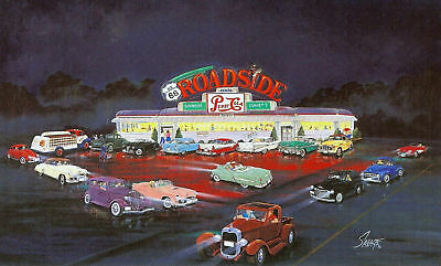 1950s era ROADSIDE DINER on ROUTE 66 Card Print w/PEPSI COLA Truck,Cars,Ad.Sign+