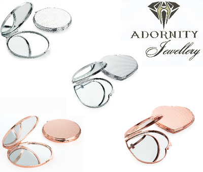 Small Compact Rose Gold Colour Silver Metal Double Mirror 6cm VARIOUS COLOUR