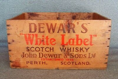 Vintage Dewars White Label Scotch Whisky Wood Crate Box Chicago Free Shipping