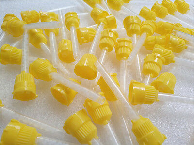 100x Oral Yellow Dental Impression Mixing Syringe Mixing Tips  4.2mm USA NEW
