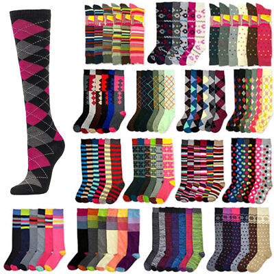 Women Knee High Multi Color Winter Boot Fancy Design Socks 9-11 Lots Wholesale