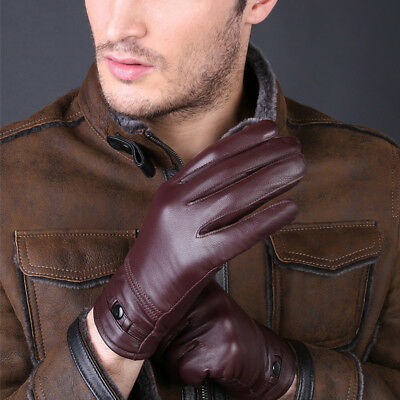 Men's Leather Gloves Winter Warm Snow Driving Bike Plush Classic I7C3Z