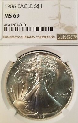 1986 Silver Eagle Dollar $1 Ngc Ms 69 Beautiful Bright White Coin First Year !!!