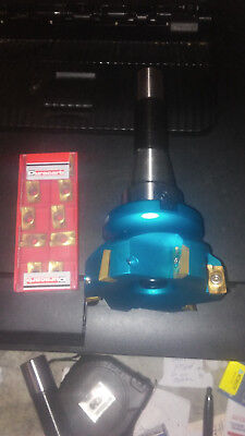 CNC  R8 FACE SHELL MILL cutter FLY CUTTING 10 INS.MANUAL FREE INSERTS
