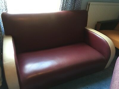 Super Soft Burgundy & Cream Retro Vintage 1950s Style Leather Settee Couch Sofa