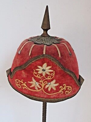 Antique Fraternal  Knights of Pythias Red Velvet with Spike Helmet