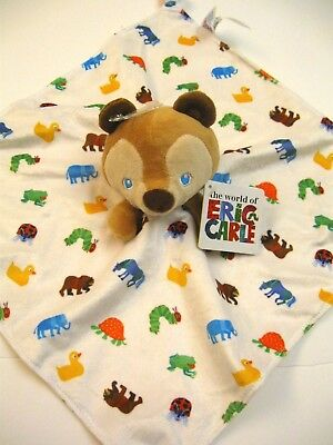 The World of Eric Carle 14x14 Brown Bear Security Blanket Animals NWT