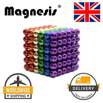 Magnesis® Mini Micro Magnets Cube 5mm Ball Construction 216 Pieces Rainbow