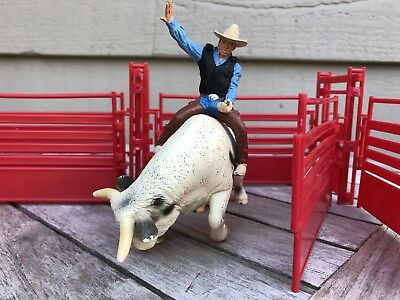 Schleich Retired Rodeo Bull And Cowboy Rider Set 13613
