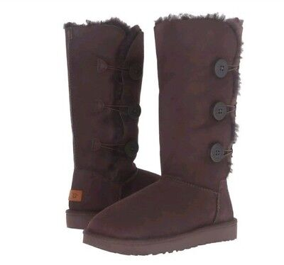 5e01f7bb72c UGG WOMEN'S BAILEY Button Triplet II Size 5 Chocolate Suede Boots # 1016227